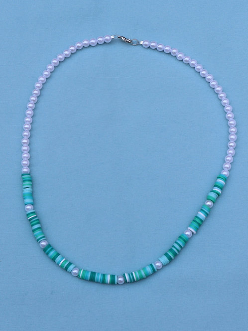 Teal and Pearl Necklace