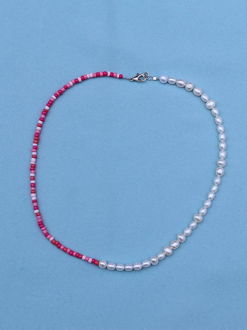 Pink and Pearl Split Necklace