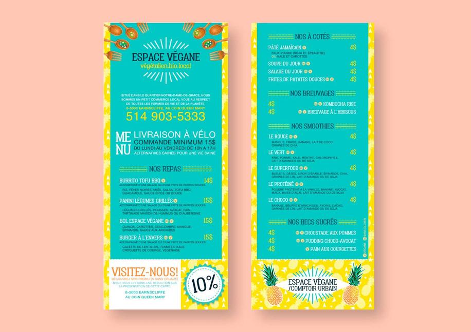 Bike delivery menu flyer : Stécie April Client: Espace végane/ Comptoir urbain - Restaurant