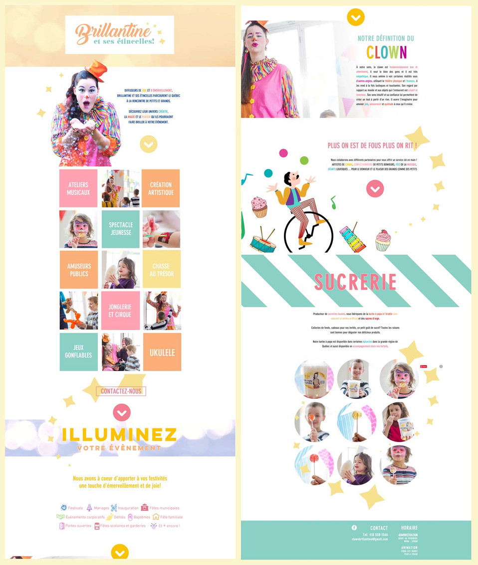 Website+logo design and photo: Stécie April Client: Youpi&cie - Entreprise d'animation clownesque