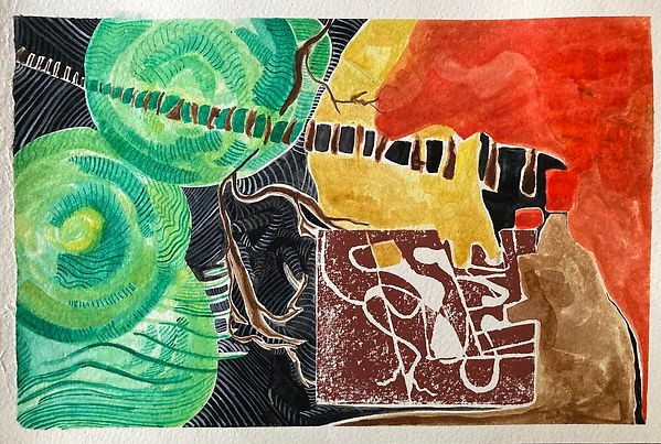Watercolour, Gouache and Lino Print on paper