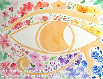 El ojo izquierdo de Horus. Sakh Majat. Acuarela by Cristina Blanco Casas