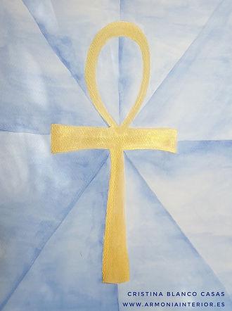 Cruz Ankh 1. Llave de la Vida. Sakh Majat. Acuarela by Cristina Blanco Casas