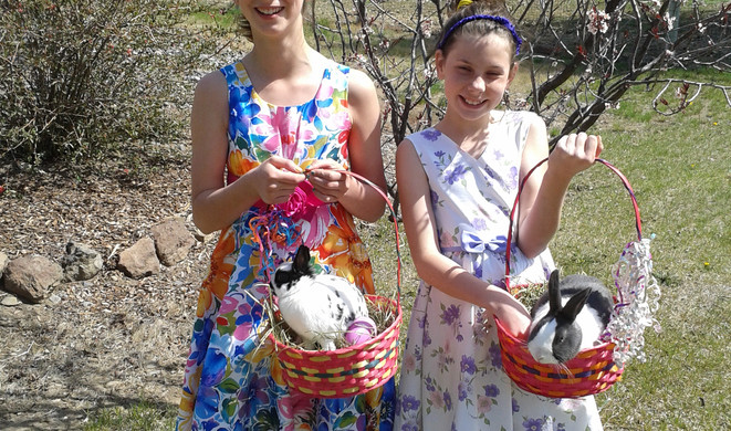 Easter with my sister and my rabbit