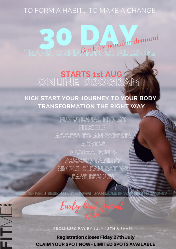 30 DAY CHALLENGE COMING SOON & WILL BE AVAILABLE FOR PURCHASE ON MONDAY 9TH OF JULY... AND WILL