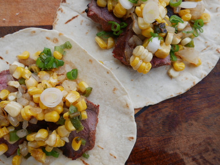Tequila Marinated Venison Tacos with Smoked Corn Salsa