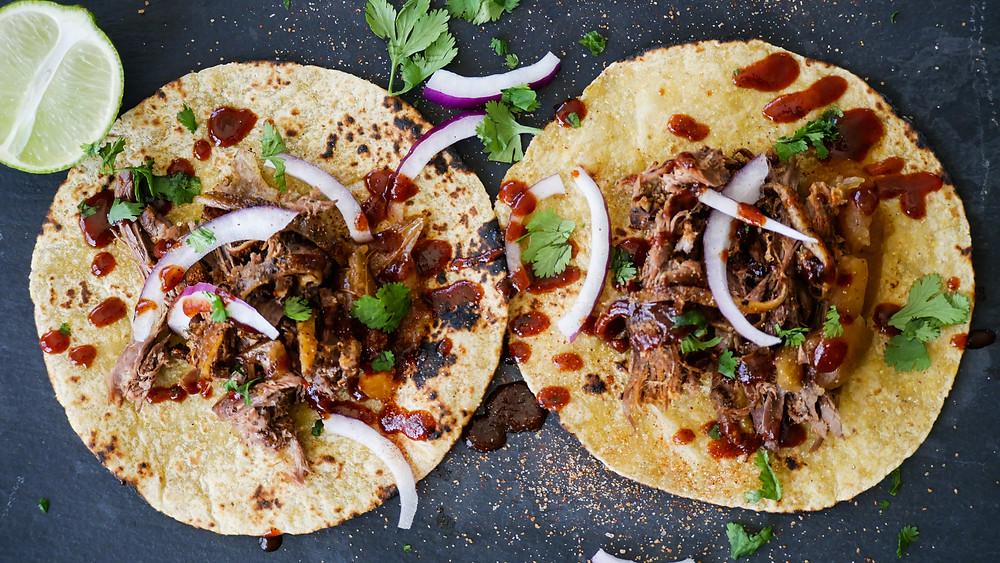 Wild Turkey leg tacos