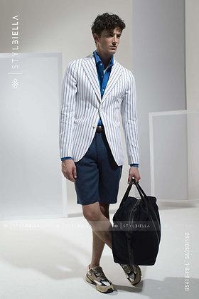 Hvid, blå stribet blazer