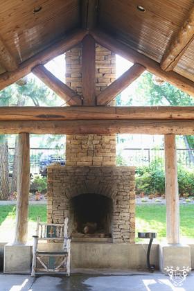Fireplace under Porte Cochere