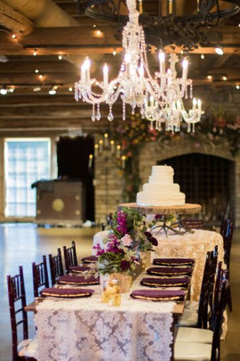 French Lace Table Overlay Eggplant purple napkins Floral by TK Wedding and Design Photo Credit, Ace Cuervo Photography