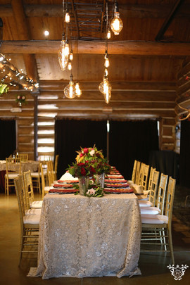 Lighting (hanging bulbs): Infinity Lighting and Sound Floral: The French Bouquet Table Linen: Valentina Lace in Champagne