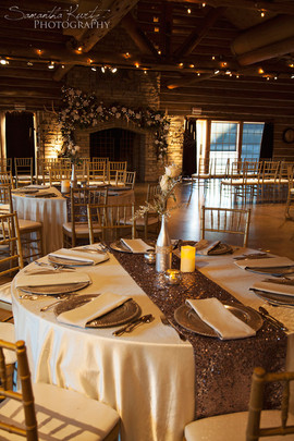 Ivory Majestic linen with silver sequin table runner Photo Credit: Samantha Kurtz Photography