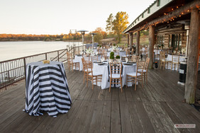 Bistro Table: Cabana Stripe in black and white Dining Tables: Imperial Stripe White with Cabana Stripe Overlay