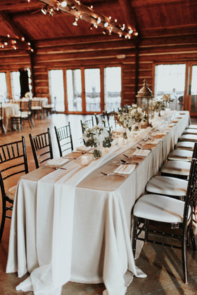 Taupe Panama Linen with Ivory Voile Table RUnner Floral: Ted and Debbies Flowers Photo Credit: Abby Roses Photography