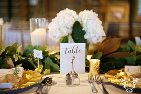 Dining Tables: White Polyester Napkins: White Cotton Gold Chargers, Gold Chiavari Chairs Cake Table: Glitz and Glimmer Sequins in Nude