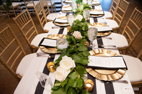 White Polyester linen with Cabana Stripe table runner Gold Charger Floral: The French Bouquet  Photo Credit: Ace Cuervo Photography