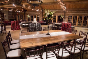 Cake Table: Liza Lace in Noir Black Bistro Tables: Custom-printed Buffalo Check on polyester Farm Tables, rented on behalf of the client Chairs: Mahogany Chiavari Floral: Toni's Flowers and Gifts Photo Credit: Ace Cuervo Photographer