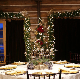 Christmas centerpieces rent for $25 each and include a set of votives.