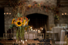 Antique Gold sequin linen with black napkins tied in twine.  Floral: The French Bouquet Photo Credit: Ace Cuervo Photographer