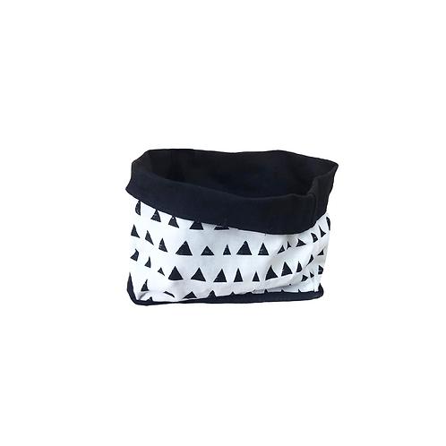 סל אחסון מלבני הדפס בד משולשים שחור לבן  - בטנה שחורה