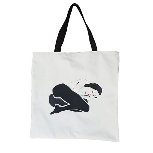 White Fabric Bag - Vinyl Print Illustration Woman