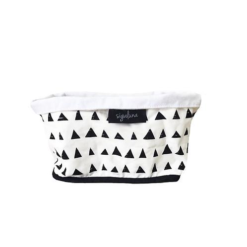 סל אחסון מלבני הדפס בד משולשים שחור לבן  - בטנה לבנה