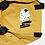 Thumbnail: תיק בד קנבס צבע חרדל איור משי שחור ידני משולש