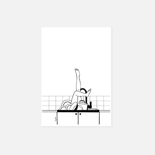 הדפס איור  - Diving in the Dishes