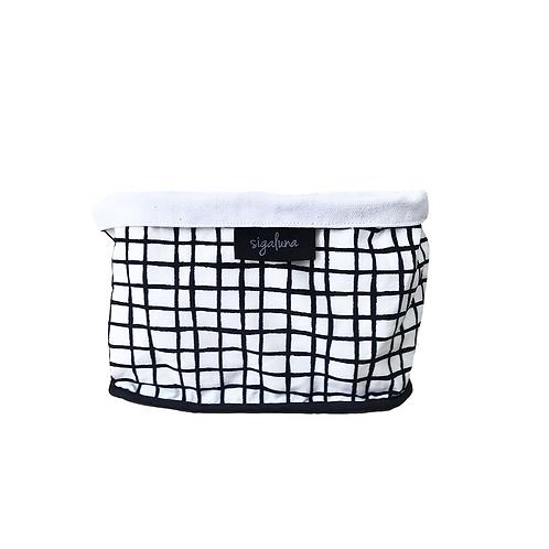 סל אחסון מלבני  הדפס בד גריד שחור לבן - בטנה לבנה