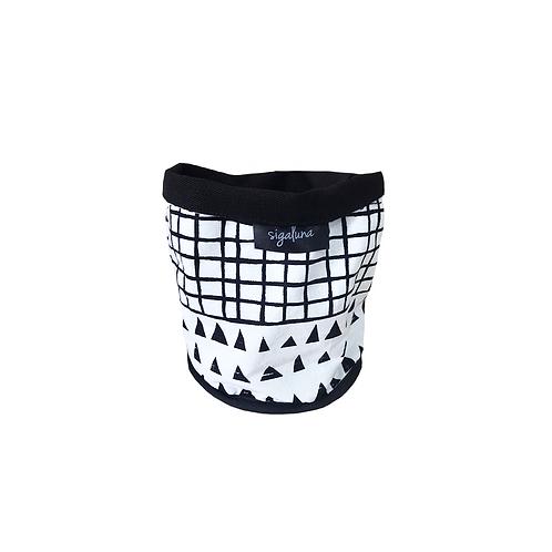 עציץ בד | סל אחסון - הדפס בד משולשים וגריד שחור לבן - בטנה שחורה