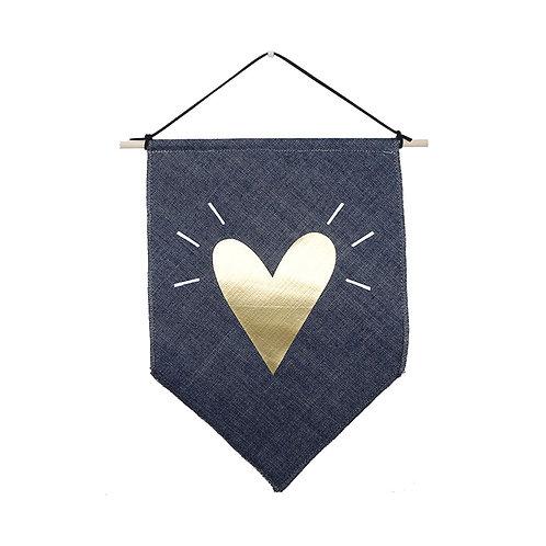 דגל קטן, בד ג׳ינס, הדפס לב זהב