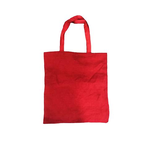 תיק פשתן אדום עם בטנה אדום נקודות