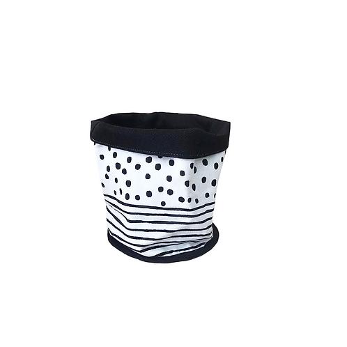 עציץ בד | סל אחסון - הדפס בד נקודות ופסים ושחור לבן