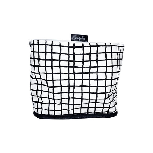 Cotton fabric storage basket - black and white grid pattern