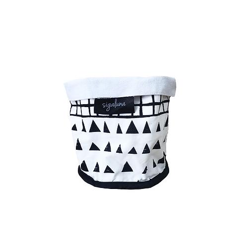 עציץ בד | סל אחסון - הדפס בד משולשים וגריד שחור לבן - בטנה לבנה