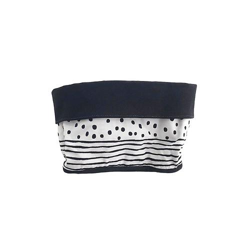 סל אחסון מלבני הדפס בד פסים ונקודות שחור לבן - בטנה שחורה