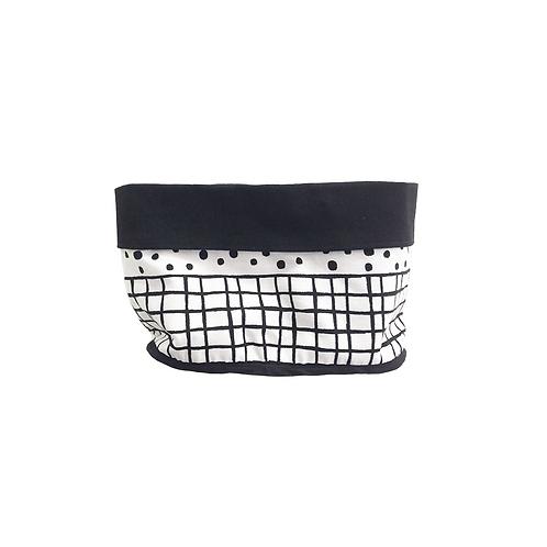 סל אחסון מלבני הדפס בד גריד ונקודות שחור לבן - בטנה שחורה