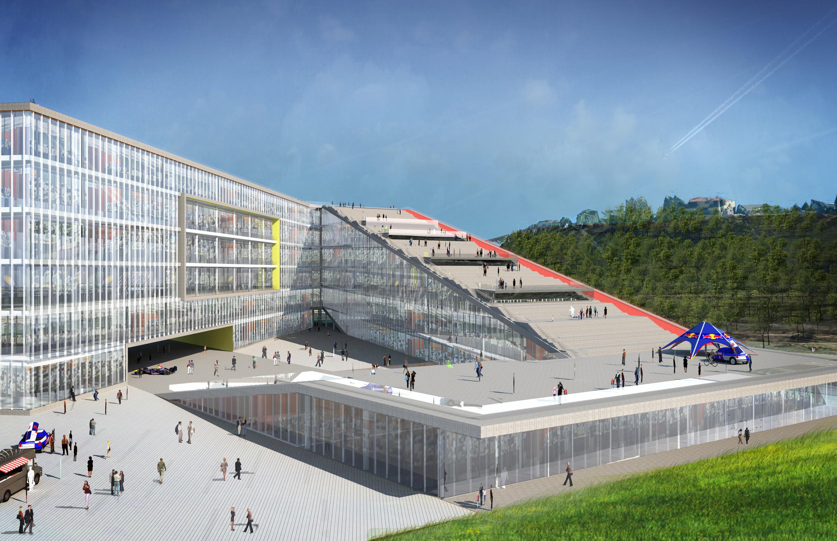 13 Red Bull Headquarters North America open studio architecture OSA - Option 2 exterior rendering