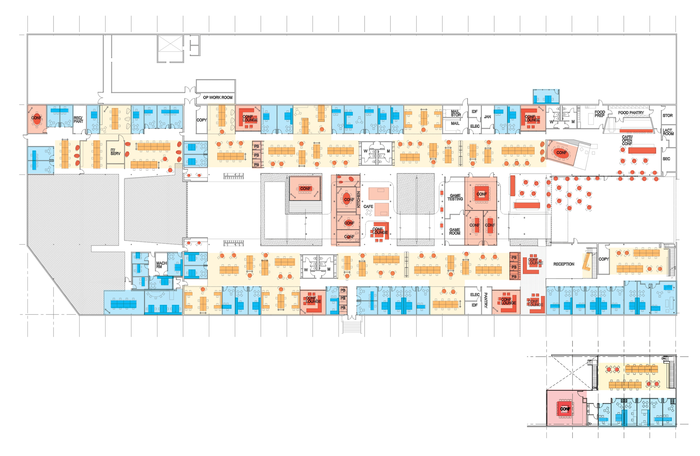 5 Red Bull Headquarters North America open studio architecture OSA - overall office plan diagram