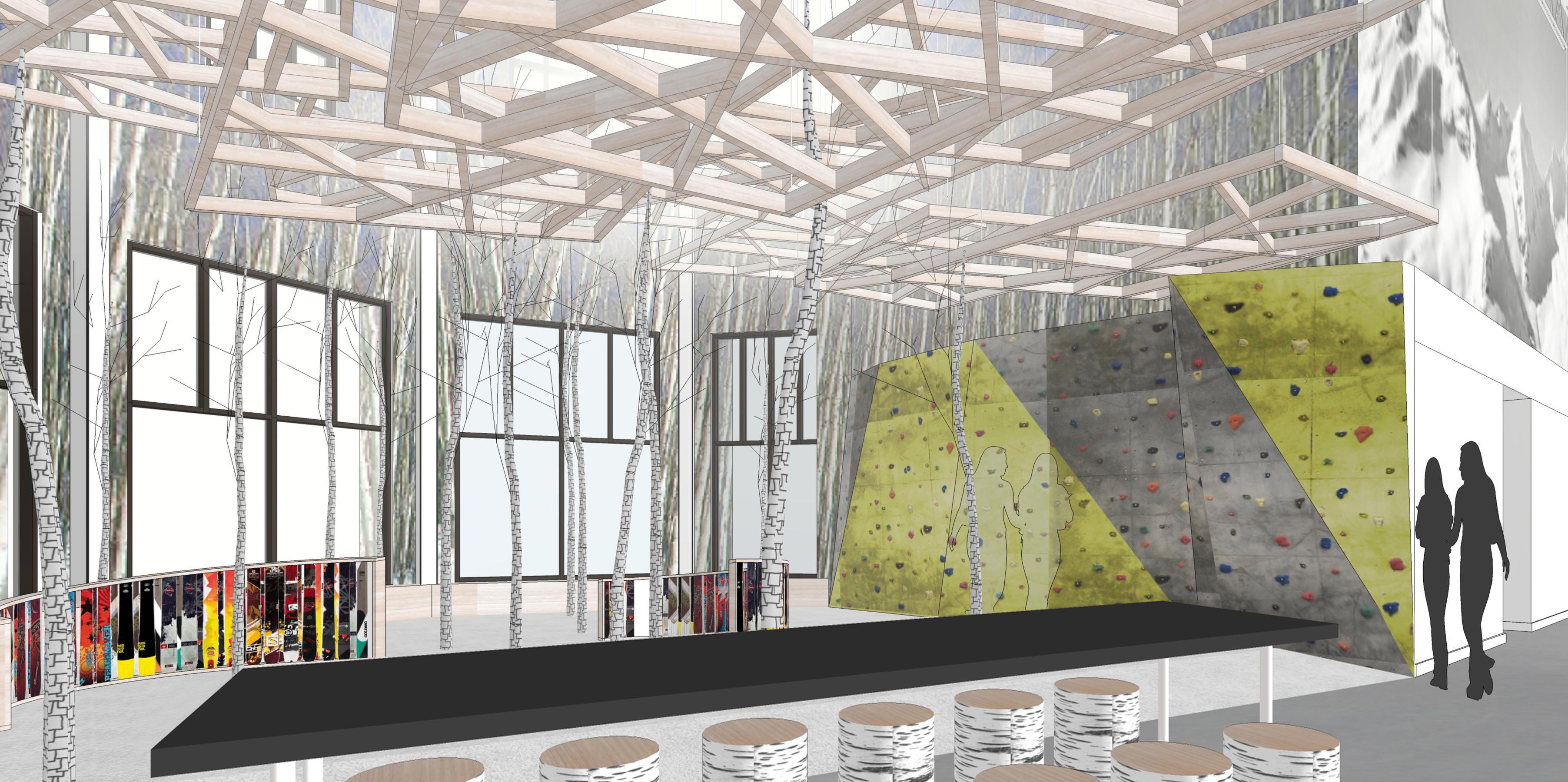 Snobahn ski + snowboard open studio architecture OSA indoor skiing learning forest