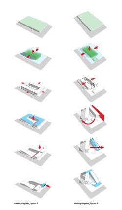 11 Red Bull Headquarters North America open studio architecture OSA - massing diagrams