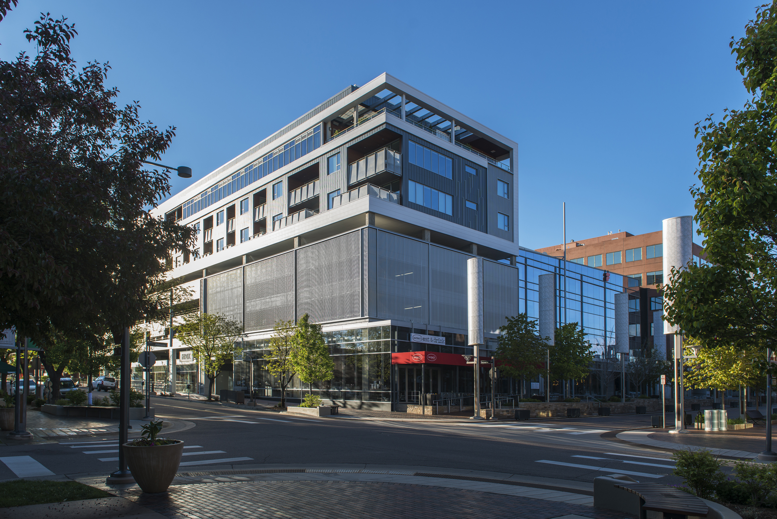 5 Residences at Fillmore Plaza Cherry Creek open studio architecture OSA - massing from street parki