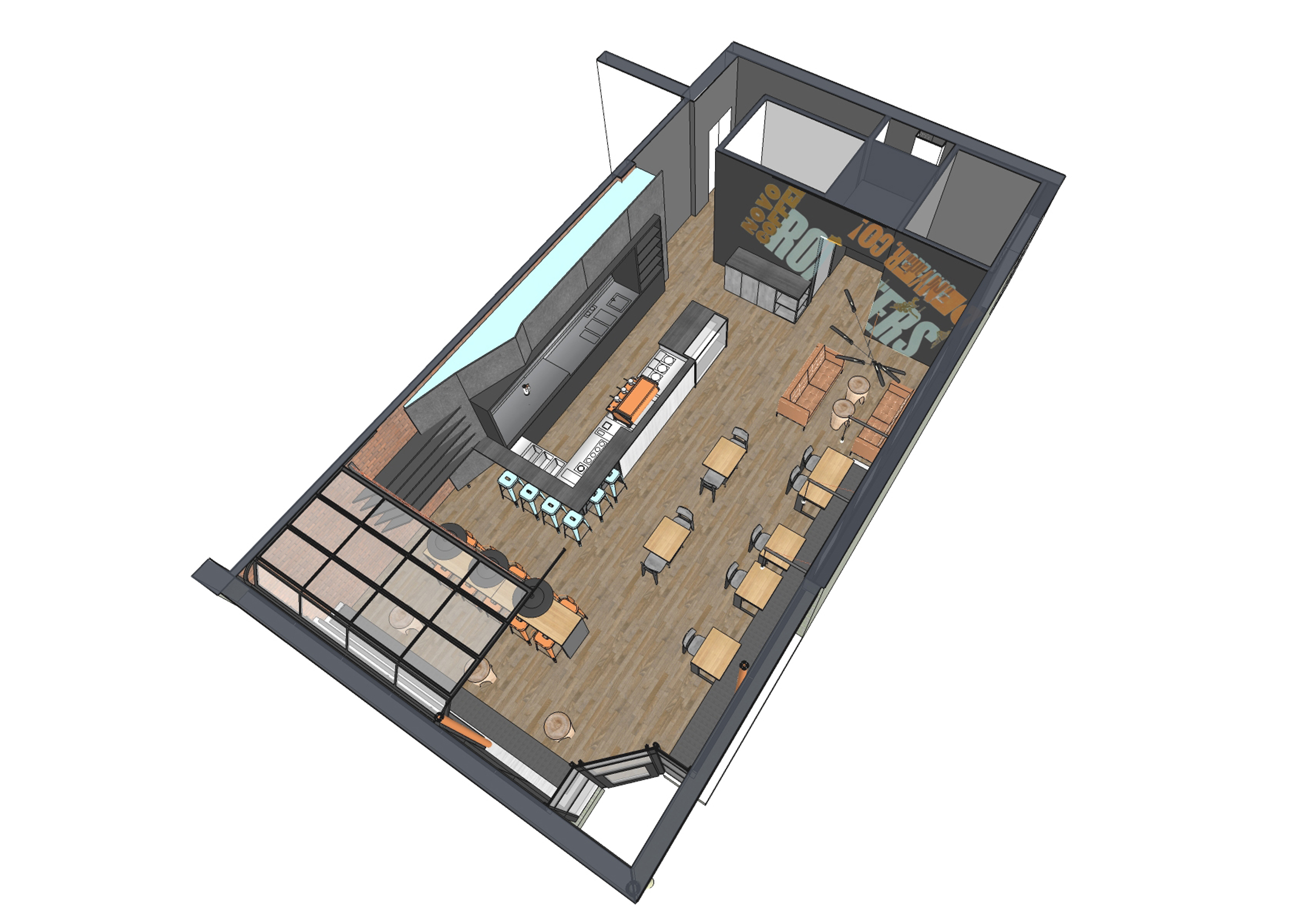 Novo Coffee shop 6th & Gilpin Axo Plan open studio architecture OSA