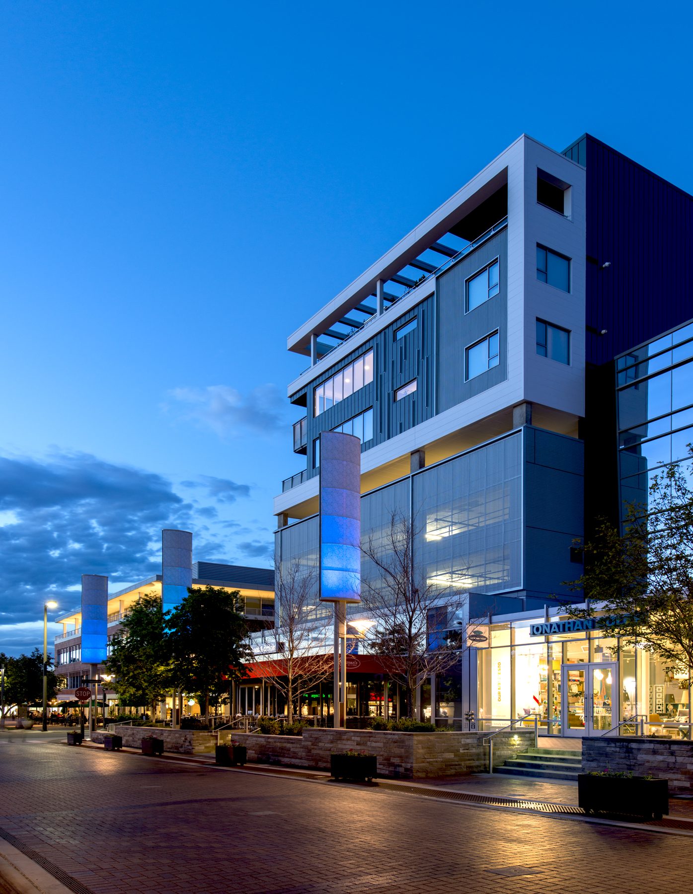 14 Residences at Fillmore Plaza Cherry Creek open studio architecture OSA - massing fillmore evening