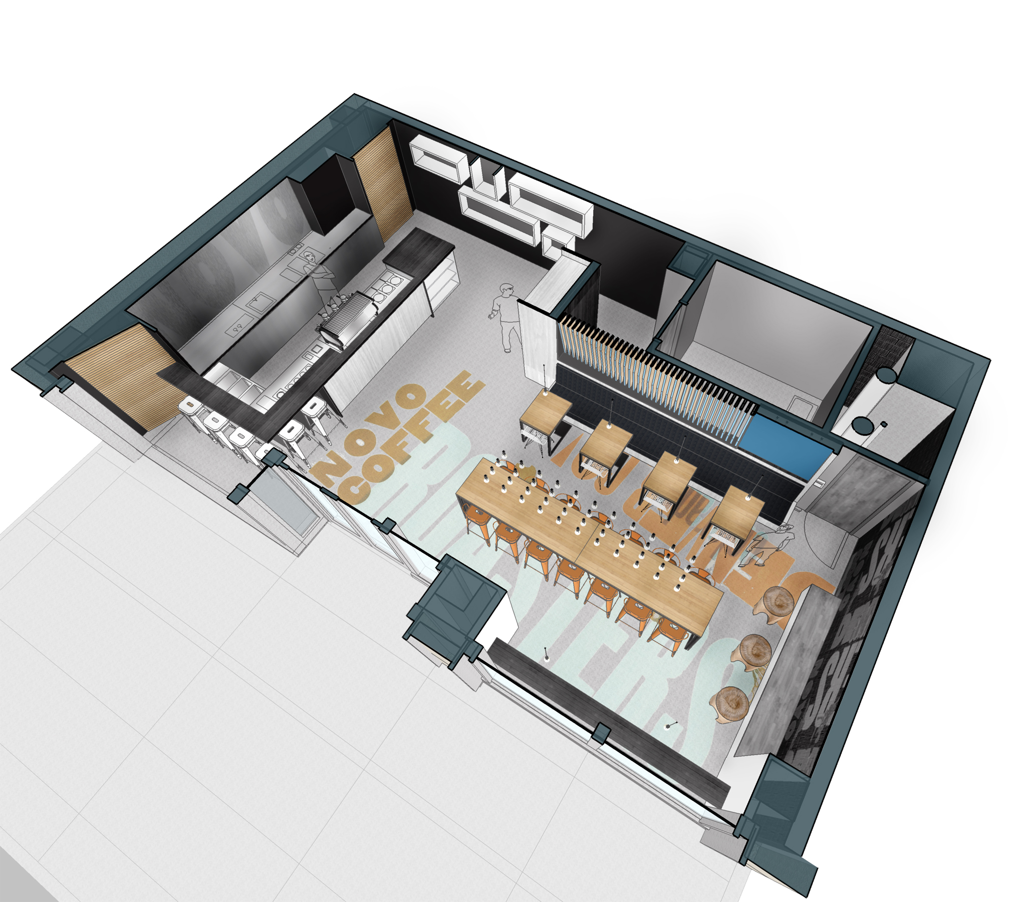 Novo Coffee shop 1600 Glenarm axo floorplan open studio architecture OSA