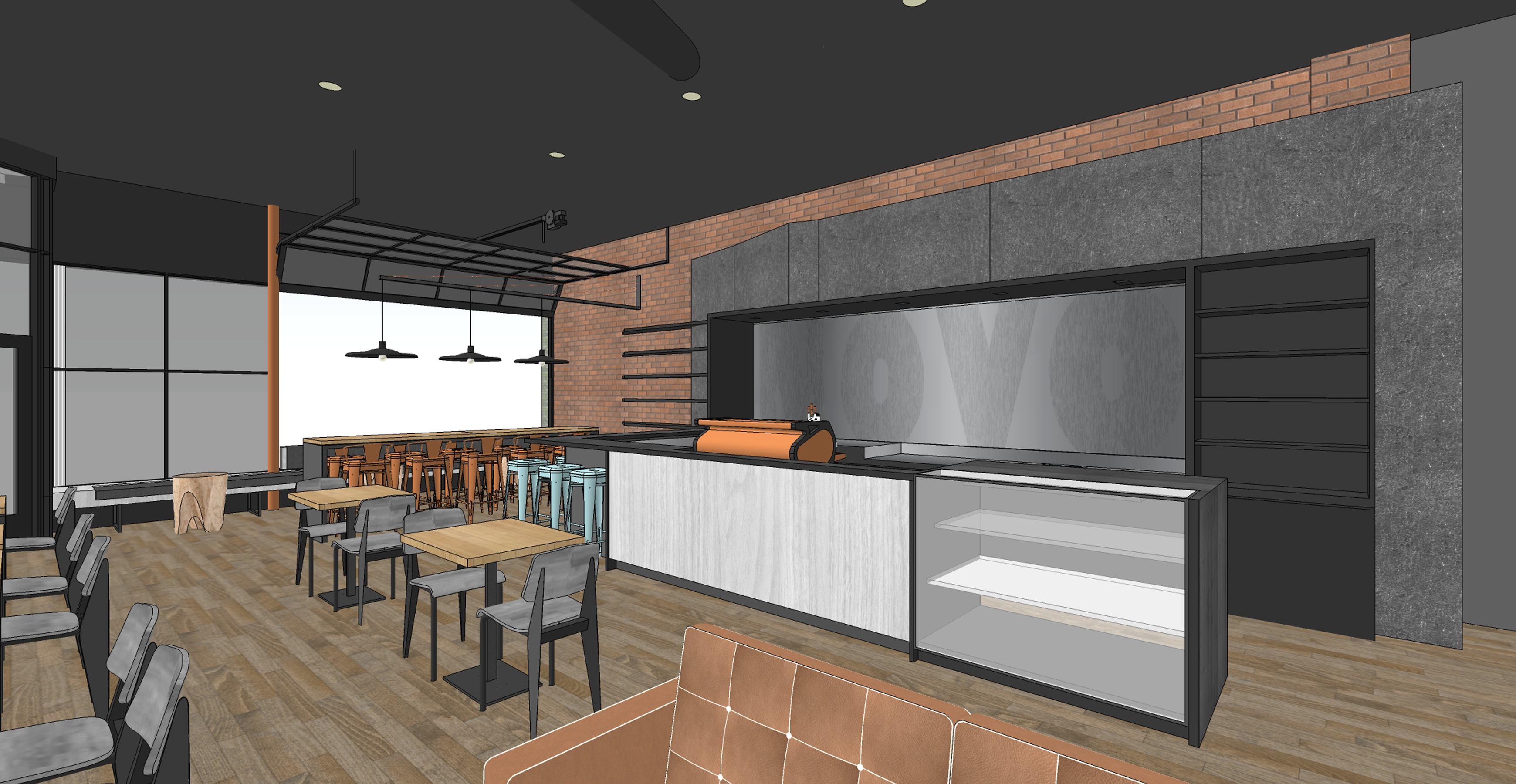 Novo Coffee Shop 6th & Gilpin Concept View from back open studio architecture OSA