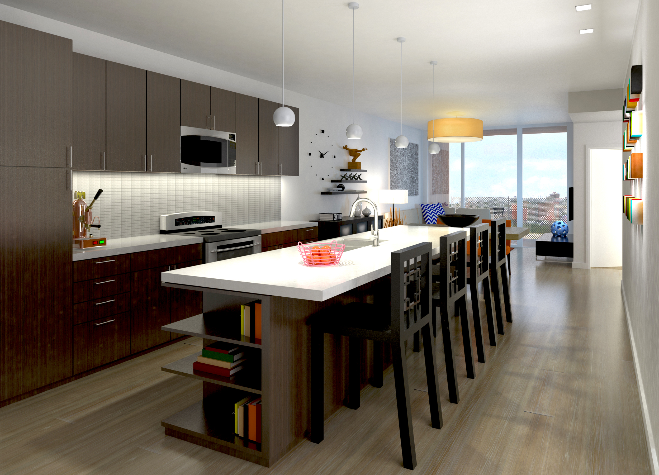 12 Residences at Fillmore Plaza Cherry Creek open studio architecture OSA - interior rendering kitch