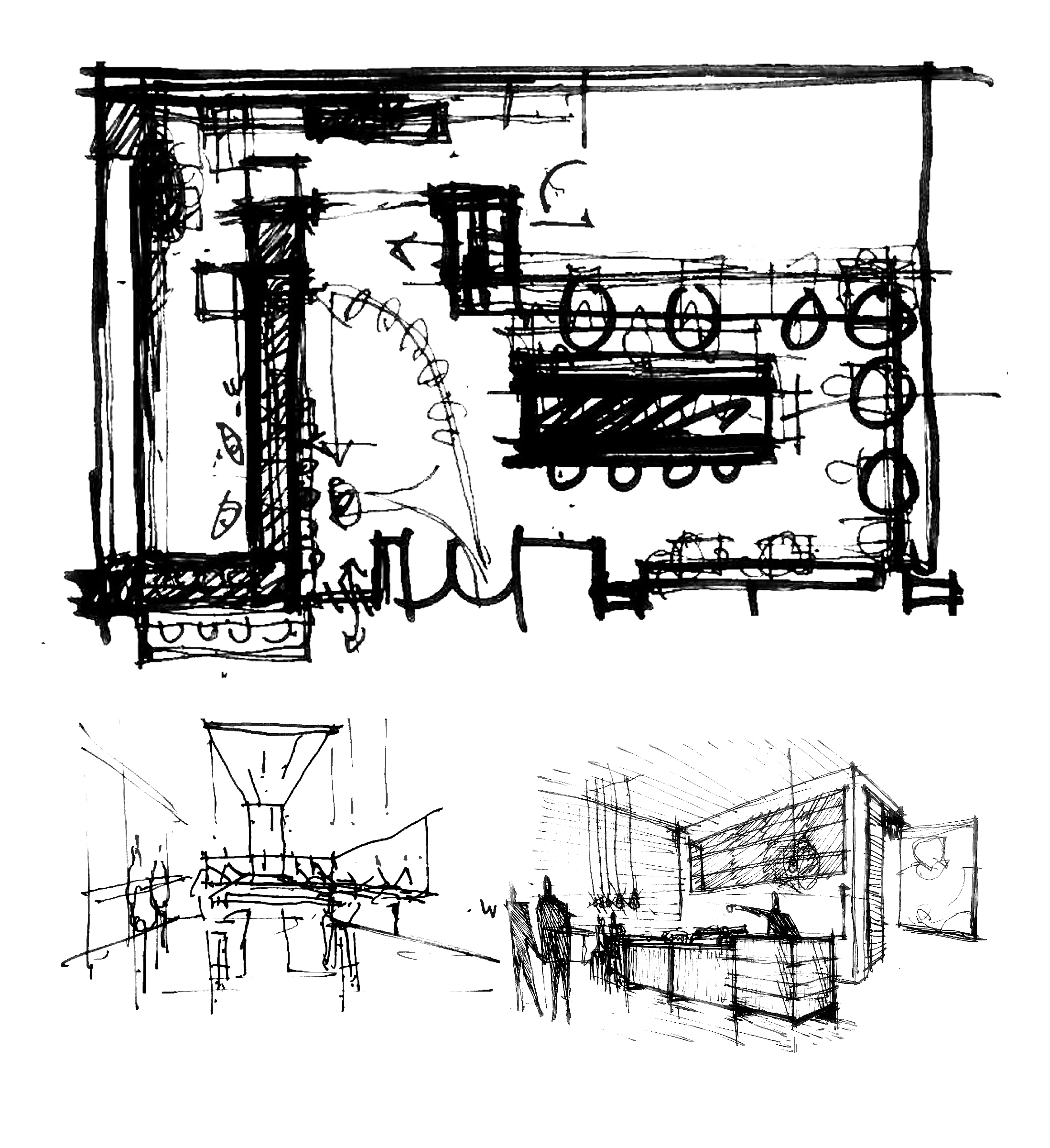 Novo Coffee shop 1600 Glenarm concept sketches open studio architecture OSA