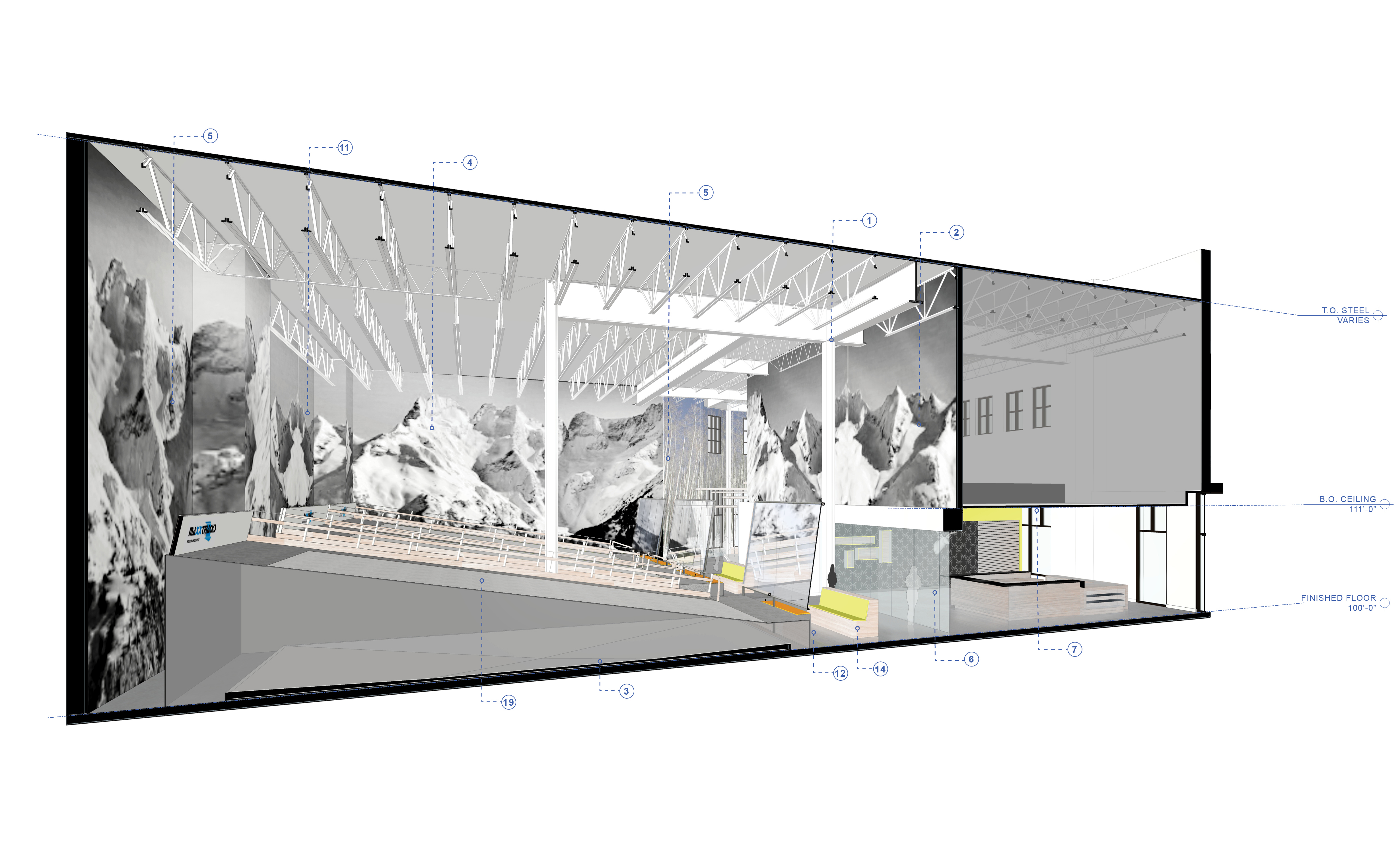 Snobahn ski + snowboard open studio architecture OSA indoor skiing building section