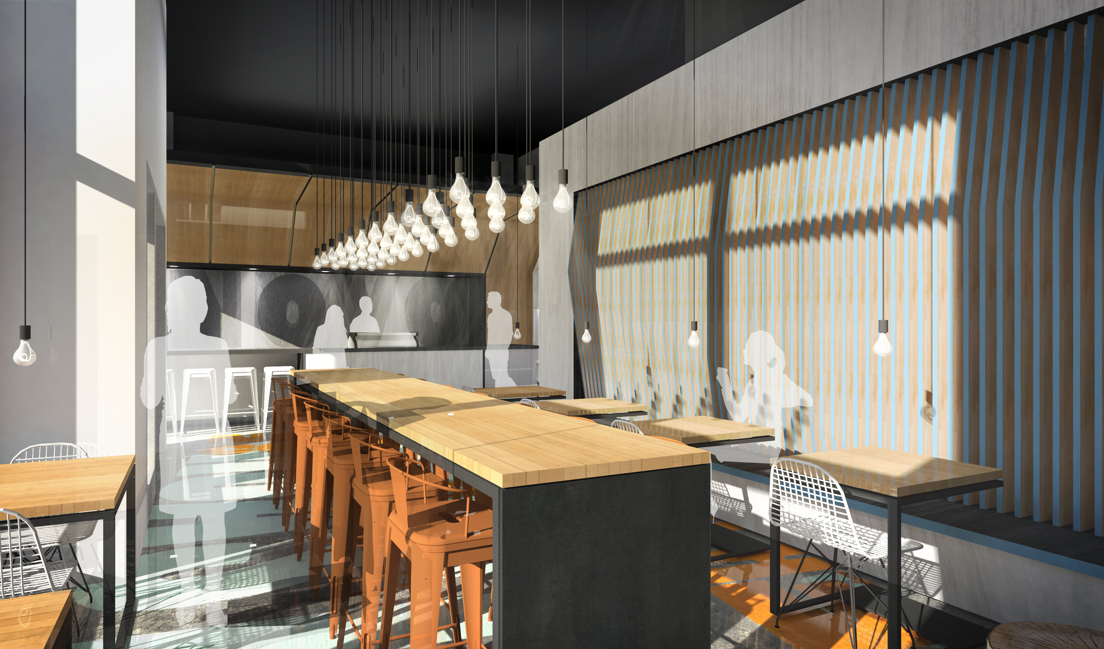 Novo Coffee shop 1600 Glenarm rendering open studio architecture OSA
